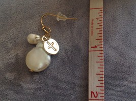 Gold w Pearl Christian Cross Faith dangle charm drop prayer earrings image 6