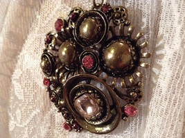 Gold Tone Large Pretty Flower Scarf Pendant Pink Crystals and Deep Red Beads image 4