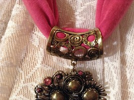 Gold Tone Large Pretty Flower Scarf Pendant Pink Crystals and Deep Red Beads image 5