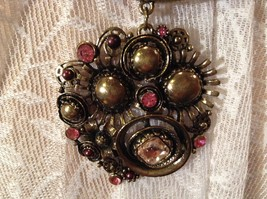 Gold Tone Large Pretty Flower Scarf Pendant Pink Crystals and Deep Red Beads image 6