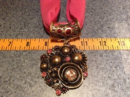 Gold Tone Large Pretty Flower Scarf Pendant Pink Crystals and Deep Red Beads image 2