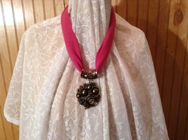 Gold Tone Large Pretty Flower Scarf Pendant Pink Crystals and Deep Red Beads image 3