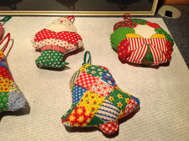 Five Piece Colorful Quilted Pillow Christmas Ornament Set image 4