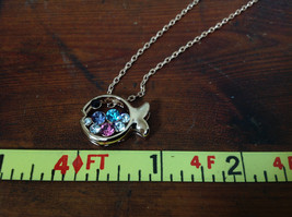 Fish Shaped 10K Gold Plated Necklace Pink Clear Blue Black Crystals Adjustable  image 4
