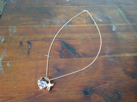 Fish Shaped 10K Gold Plated Necklace Pink Clear Blue Black Crystals Adjustable  image 2
