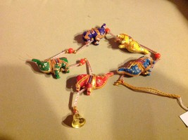 Five Baby Festival Elephants  Strand w Beads and Bell String Connector image 2