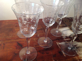 Five Piece Set Champagne Glass Stemware Copper Wheel Engraving High Quality image 2