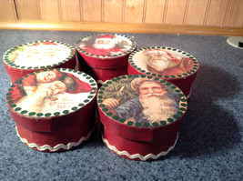 Five Piece Set Small Round Red Christmas Trinket Boxes image 2