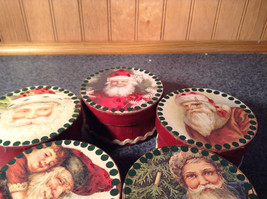 Five Piece Set Small Round Red Christmas Trinket Boxes image 4