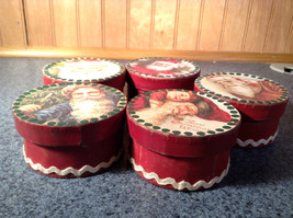 Five Piece Set Small Round Red Christmas Trinket Boxes image 5