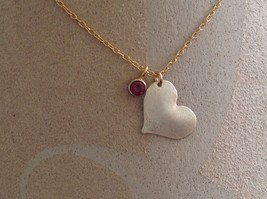 Flat Heart and Gem Necklace Silver with Gold Chain January Garnet Zina Kao image 3