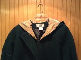 Fleet Street Green Hooded Wool Jacket Tan Brown Lining 2 Front Pockets Size 12 image 2