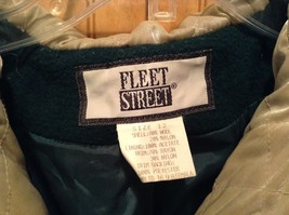 Fleet Street Green Hooded Wool Jacket Tan Brown Lining 2 Front Pockets Size 12 image 3