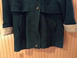 Fleet Street Green Hooded Wool Jacket Tan Brown Lining 2 Front Pockets Size 12 image 5