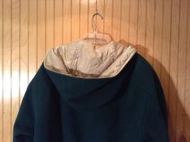 Fleet Street Green Hooded Wool Jacket Tan Brown Lining 2 Front Pockets Size 12 image 8