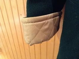 Fleet Street Green Hooded Wool Jacket Tan Brown Lining 2 Front Pockets Size 12 image 4