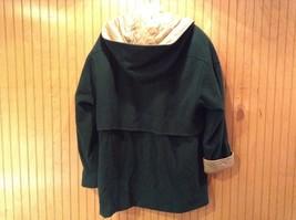 Fleet Street Green Hooded Wool Jacket Tan Brown Lining 2 Front Pockets Size 12 image 6