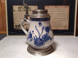 Floral Patterned Pewter Ceramic Stein Pitcher image 2