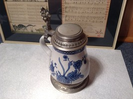 Floral Patterned Pewter Ceramic Stein Pitcher image 3