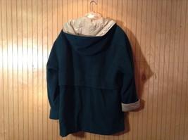 Fleet Street Green Hooded Wool Jacket Tan Brown Lining 2 Front Pockets Size 12 image 7