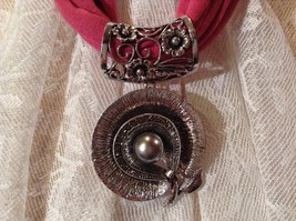 Flower Shaped Scarf Pendant Silver Tone Silver Bead in Center Small Crystals image 3