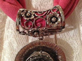 Flower Shaped Scarf Pendant Silver Tone Silver Bead in Center Small Crystals image 5