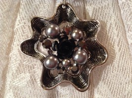 Flower Scarf Pendant with Small Black Rose in Center Silver Beads and Crystals image 6