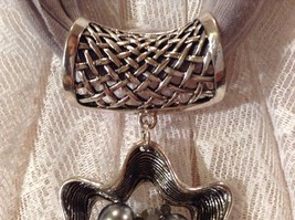 Flower Scarf Pendant with Small Black Rose in Center Silver Beads and Crystals image 7
