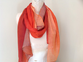 Gorgeous Red Orange Hue Shimmery Material Fashion Scarf image 7