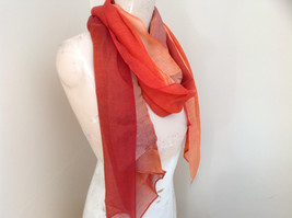 Gorgeous Red Orange Hue Shimmery Material Fashion Scarf image 3