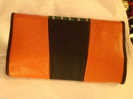 Gorgeous Ladies bright orange Studded Tyson clutch bag with carry strap image 6