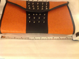 Gorgeous Ladies bright orange Studded Tyson clutch bag with carry strap image 8