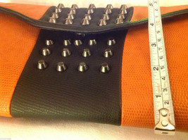 Gorgeous Ladies bright orange Studded Tyson clutch bag with carry strap image 9