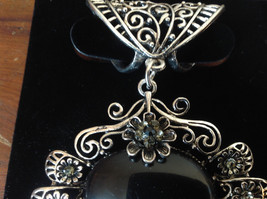 Flowers Crystals Large Black Stone Silver Tone Scarf Pendant by Magic Scarf image 3