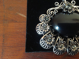 Flowers Crystals Large Black Stone Silver Tone Scarf Pendant by Magic Scarf image 2