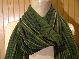 Forest Green Tasseled Fashion Scarf Light Weight Material NO TAGS image 3
