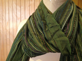 Forest Green Tasseled Fashion Scarf Light Weight Material NO TAGS image 4
