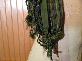Forest Green Tasseled Fashion Scarf Light Weight Material NO TAGS image 5