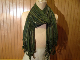 Forest Green Tasseled Fashion Scarf Light Weight Material NO TAGS image 7