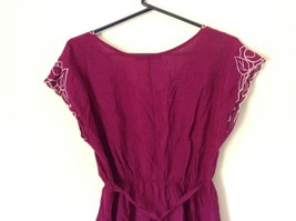 Forever 21 Dark Raspberry Color Dress with White Accent Size Small Loose Fit image 6