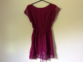Forever 21 Dark Raspberry Color Dress with White Accent Size Small Loose Fit image 7