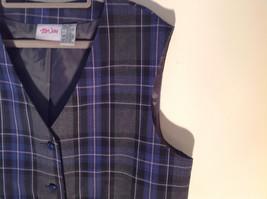 Formal 2 Fake Pockets by Tan Jay Blue Purple Black Square Pattern Vest Size 14 image 3