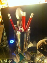 Forked Up Art pencil or pen cup holder spoon man USA made 4 person w everything image 2
