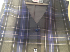 Formal 2 Fake Pockets by Tan Jay Blue Purple Black Square Pattern Vest Size 14 image 7