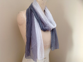Gray Watercolor Scrunched Style Scarf Almost a Pleated Scrunched Look NO TAG image 2