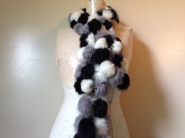 Gray White and Black Rabbit Fur Ball  Shaped Attached with Strings Scarf image 2