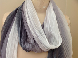 Gray Watercolor Scrunched Style Scarf Almost a Pleated Scrunched Look NO TAG image 3