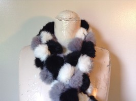 Gray White and Black Rabbit Fur Ball  Shaped Attached with Strings Scarf image 3