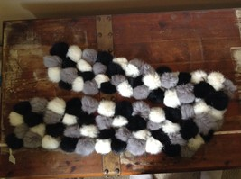 Gray White and Black Rabbit Fur Ball  Shaped Attached with Strings Scarf image 5