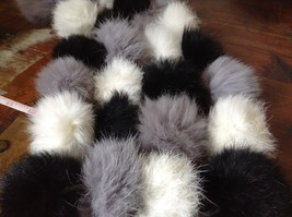 Gray White and Black Rabbit Fur Ball  Shaped Attached with Strings Scarf image 4